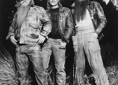 music, groups, outdoors, grayscale, ZZ Top, music bands - random desktop wallpaper