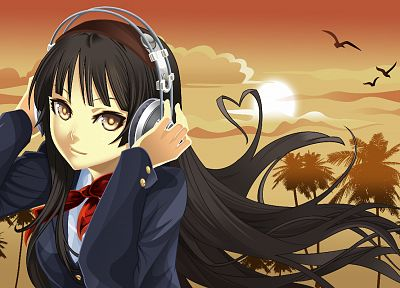 headphones, K-ON!, Akiyama Mio, anime girls - desktop wallpaper