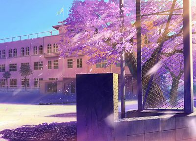 architecture, school, buildings, Makoto Shinkai, scenic - desktop wallpaper