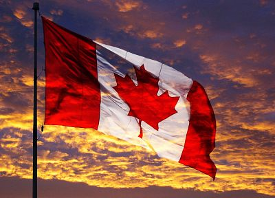 sunset, clouds, Canada, flags, Canadian flag, nationalism - desktop wallpaper