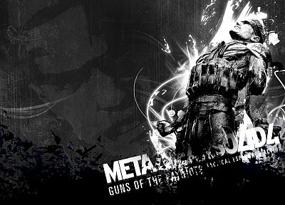 Metal Gear Solid, Solid Snake, grayscale - random desktop wallpaper
