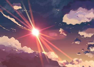 Makoto Shinkai, sunlight, 5 Centimeters Per Second, anime, skyscapes - random desktop wallpaper