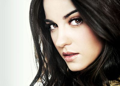 brunettes, women, brown eyes, white background, Maite Perroni - desktop wallpaper