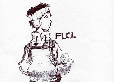 FLCL Fooly Cooly, simple background, Nandaba Naota - random desktop wallpaper