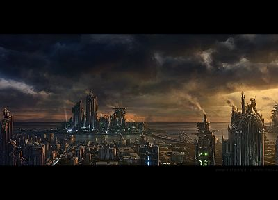 cityscapes, fantasy art, artwork, overcast, Daniel Kvasznicza - related desktop wallpaper