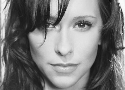 women, Jennifer Love Hewitt, grayscale - random desktop wallpaper