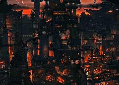 cityscapes, night, architecture, steampunk, buildings, imperial boy, cities - related desktop wallpaper