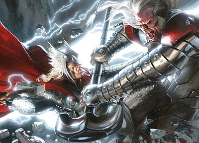 Thor, fantasy art, Mjolnir - random desktop wallpaper