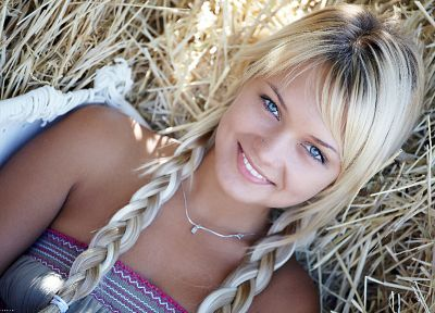 blondes, women, blue eyes, hay, pigtails, smiling, Errotica-Archives magazine, braids, faces, Lada D - random desktop wallpaper
