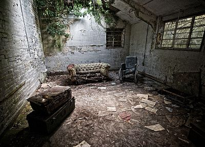 ruins, decay, luggages, brick wall, Urban exploration, sofa - related desktop wallpaper