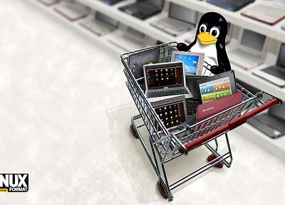 Linux, tux, penguins, laptops - random desktop wallpaper