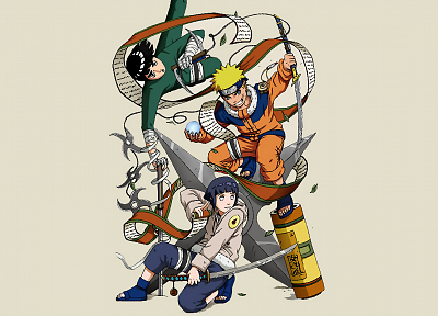 Naruto: Shippuden, Hyuuga Hinata, Rock Lee, Uzumaki Naruto, simple background - desktop wallpaper