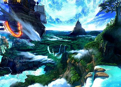 landscapes, ships, fantasy art, artwork, vehicles, waterfalls - related desktop wallpaper