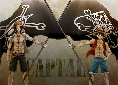 One Piece (anime), flags, anime, anime boys, anime girls, Monkey D Luffy, Portgas D Ace - desktop wallpaper