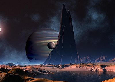mountains, outer space, planets, deserts, Moon, science fiction, lakes - related desktop wallpaper