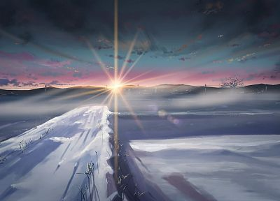 winter, snow, Makoto Shinkai, sunlight, 5 Centimeters Per Second - random desktop wallpaper