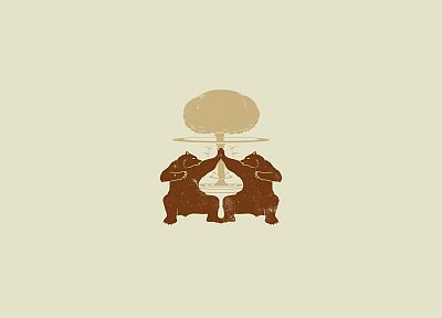 video games, minimalistic, high five, bears, Fallout 3, awesomeness, Destructoid, Rorschach test - desktop wallpaper