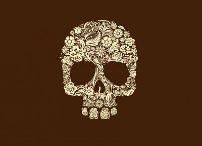 skulls, flowers, brown background - desktop wallpaper
