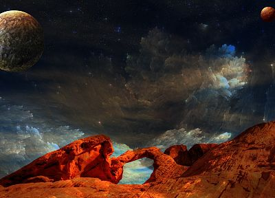 outer space, planets, rocks, artwork, photo manipulation - random desktop wallpaper
