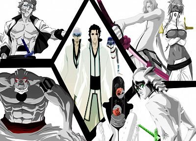 Bleach, Espada, Ichimaru Gin, Grimmjow Jaegerjaquez, selective coloring, Aizen Sousuke, Szayel Aporro Granz, Yammy, Tier Harribel, Ulquiorra Cifer, Tousen Kaname, Aaroniero Arruruerie - random desktop wallpaper