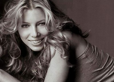 women, actress, Jessica Biel, monochrome - random desktop wallpaper