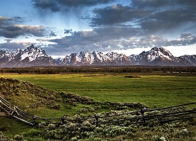 mountains, landscapes, nature, fences, grass, fields - related desktop wallpaper