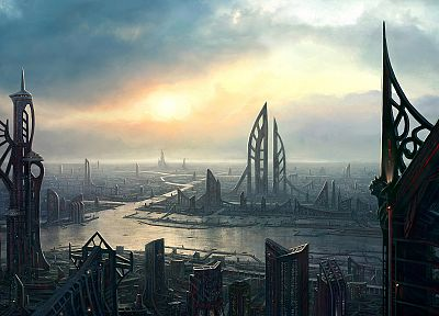 futuristic, future, artwork, cities - related desktop wallpaper