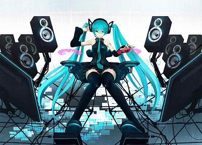 Vocaloid, Hatsune Miku, speakers, twintails, anime, aqua hair, detached sleeves - desktop wallpaper