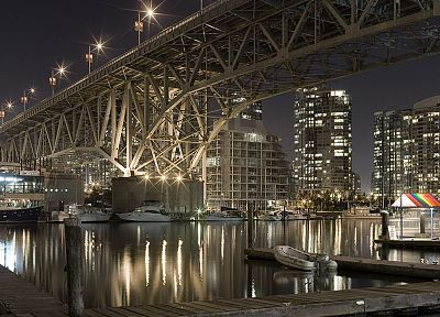 cityscapes, night, architecture, bridges, buildings, rivers - related desktop wallpaper