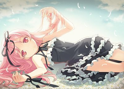 video games, clouds, dress, flowers, long hair, ribbons, pink hair, red eyes, visual novels, lying down, black dress, flower petals, anime girls, H2SO4 (Illustrator), Garden (Cuffs), hair ornaments, Himemiya Ruri, skies - random desktop wallpaper