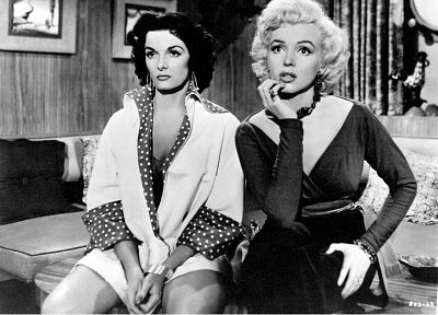 actress, Marilyn Monroe, grayscale, Jane Russell - random desktop wallpaper