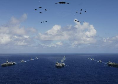 water, clouds, aircraft, vehicles, aircraft carriers, B-2 Spirit - related desktop wallpaper