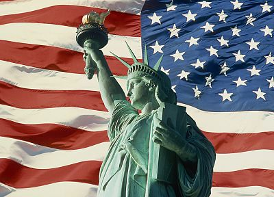 USA, Statue of Liberty, American Flag - random desktop wallpaper