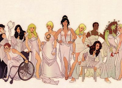 women, dress, DC Comics, comics, Harley Quinn, groups, Catwoman, Black Canary, Poison Ivy, Supergirl, Power Girl, Zatanna, Batwoman, Adam Hughes, Barbara Gordon, Wonder Woman, Vixen (comics) - random desktop wallpaper