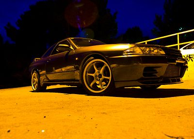 cars, Nissan Skyline, low-angle shot, Nissan Skyline R32 GT-R - related desktop wallpaper