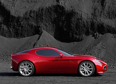 red, cars, Alfa Romeo, vehicles, Alfa Romeo 8C, Alfa Romeo 8C Competizione, side view - random desktop wallpaper