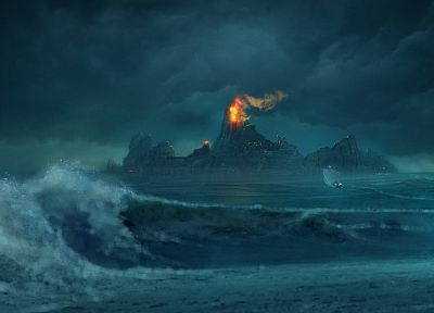 landscapes, nature, waves, fantasy art, boats, artwork, sailboats - related desktop wallpaper