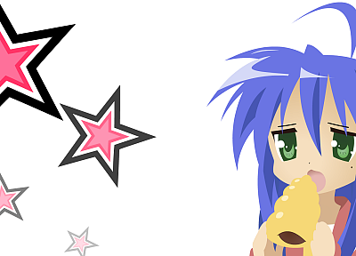 Lucky Star, blue hair, green eyes, simple background, Izumi Konata - desktop wallpaper