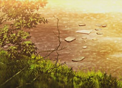 water, sunset, nature, trees, ponds, illustrations, sunlight, anime, Nichijou - related desktop wallpaper
