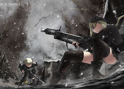 soldiers, snow, machine gun, uniforms, military, weapons, World War II, original characters - related desktop wallpaper