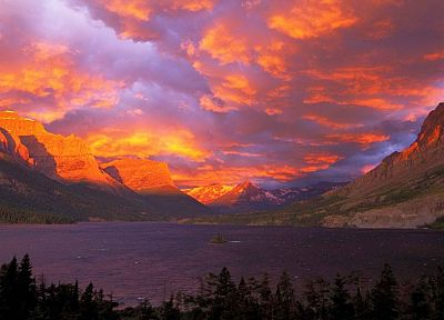 sunrise, National Park, Glacier National Park, Saint Mary Lake - random desktop wallpaper
