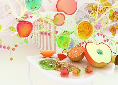 fruits, CGI, oranges, strawberries, chromatic, apples, K3 Studio - random desktop wallpaper