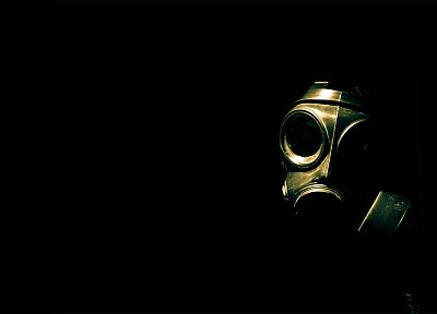 biohazard, gas masks, black background - desktop wallpaper