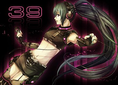 headphones, Vocaloid, gloves, Hatsune Miku, long hair, green hair, ponytails, bare shoulders - random desktop wallpaper