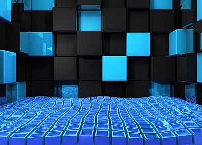 3D view, abstract, blue, black, wall, design, cubes - random desktop wallpaper