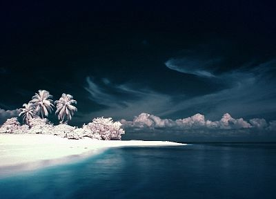 water, ocean, landscapes, nature, infrared, beaches - random desktop wallpaper