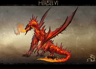 wings, dragons, monsters, fire, lava, Heroes of Might and Magic, Breath of Fire - random desktop wallpaper