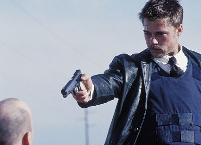 movies, men, Brad Pitt, bulletproof, screenshots, actors, Seven (movie) - related desktop wallpaper