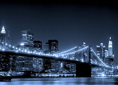 cityscapes, night, bridges, buildings, Brooklyn Bridge, New York City - related desktop wallpaper