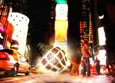 Times Square, grenades, photo manipulation - random desktop wallpaper